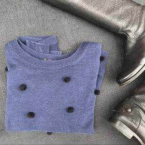 Blue J. Crew. Sweatshirt with black Pom Poms